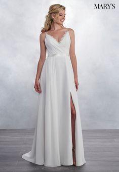 cea8b07c764e Relaxed A-line wedding dress with a draped V-shaped neckline