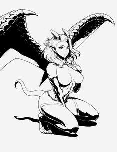 Art giveaway for EnderTau by Wiidstep on DeviantArt Sucubus Anime, Gato Anime, Female Character Design, Character Art, Pixel Art, Geisha Art, Fantasy Art Women, Alien Art, Estilo Anime