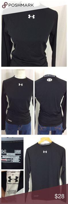 "UA Crew Neck Compression Top Excellent condition heat gear compression top. Logo center front and center back. Size L, 17"" chest, 25"" length. Under Armour Tops"