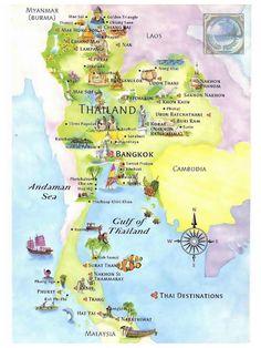 Detailed tourist map of Thailand. Detailed tourist map of Thailand. 10 Days In Thailand, Thailand Vacation, Thailand Honeymoon, Visit Thailand, Map Of Thailand, Bangkok Thailand, Thailand Destinations, Thailand Travel Guide, Bangkok Travel