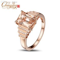 Wholesale-2.42ct VS 7x9mm Emerald Morganite Pave Diamond Real 14k Rose Gold Engagement Ring Online with $501.97/Piece on Shukui's Store | DHgate.com