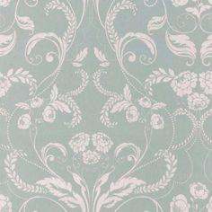 Josette Duck Egg Blue Floral Linen Mix Curtain Fabric by Laura