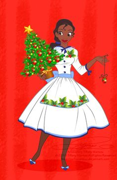 Black Christmas, Disney Christmas, Christmas Pictures, Christmas Art, Xmas, Disney Holidays, Christmas Girls, Christmas Clipart, Tiana And Naveen