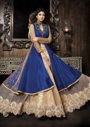 Party Wear Silk Blue Antique Work Gown