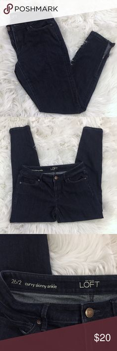 """Loft Curvy Skinny Jean Ann Taylor LOFT curvy skinny ankle jeans. Dark blue with ankle zipper detail.  SIZE 26/2   Measurements Laying Flat   Waist - 15"""" Inseam - 25.5""""  Any questions please ask ✌🏼💕 LOFT Jeans Ankle & Cropped"""