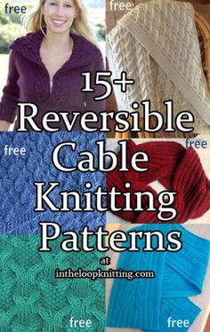 Reversible Cable Knitting Patterns for blankets, scarves, sweaters, shawls and more. Most patterns are free