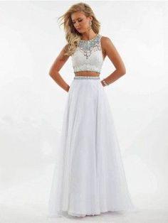 Blanco A-Linie/Princess-Stil U-Ausschnitt Ärmellos Perlenstickerei Bodenlang Gasa Vestidos por €602,35