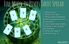 FULL MOON IN PISCES TAROT SPREAD POSITIONAL MEANINGS What is real - Where you need to ground your energy and put the extra effort in What is not real - Flights of fancy, delusions and…