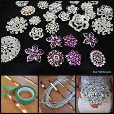 DIY+Brooch+Bouquet+Kit+PURPLE++35+Pieces+SMALL+door+BluePetyl,+$120.00