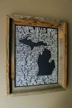 Who doesnt love a good beer? This 11 x 14 dark blue Beers of Michigan Word Map contains a collection of all your favorites from around the great