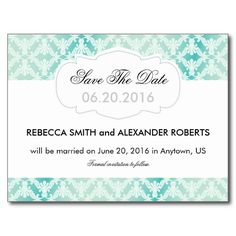 Mint and Teal Damask Save The Date Postcards