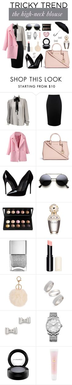 """""""singing the high-neck blues"""" by susandykema ❤ liked on Polyvore featuring Valentino, Alexander McQueen, Michael Kors, Dolce&Gabbana, Marc Jacobs, Topshop, Marc by Marc Jacobs, Calvin Klein, MAC Cosmetics and Lancôme"""