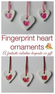 adorably simple fingerprint heart ornaments made using baking soda clay. They are really easy and inexpensive to make and make great keepsakes or gifts. We are using our as part of our valentines cards. How to make your own fingerprint heart ornaments bak Valentines Bricolage, Kinder Valentines, Valentine Crafts For Kids, Valentines Diy, Holiday Crafts, Spring Crafts, Kids Crafts, Toddler Crafts, Diy Crafts To Sell