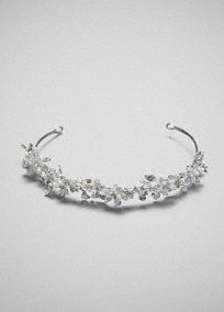"""Bridal Silver Headband with Crystals and Pearl Flowers. Coordinates with veils VCT258S and VCT258Long, and Jewelry NCT258. Available in Silver. Measures 12.6"""" L x 0.8""""W. Imported."""