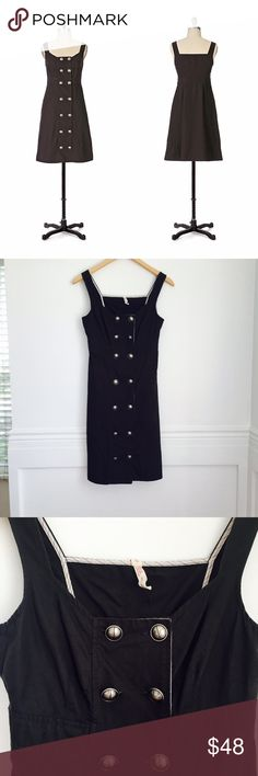 Maeve dress Lay-Of-The-Land dress by Maeve. Darkest gray cotton jumper with double button front. Side slash lockets. Side zip. Excellent condition. Size 2. Anthropologie Dresses