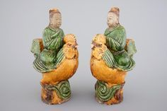 A pair of sancai glazed figural roof tiles, Ming Dynasty