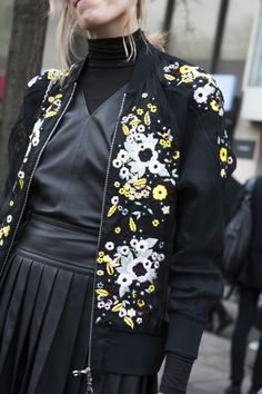 A jacket this pretty deserves a closer look. London Fashion Week Fall 2014 Street Style Accessories #LFW