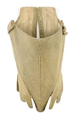 Corset: mid 18th century, densely-ribbed linen, kid-bound tabs at waist, trimmed with leather at arms.