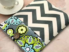 Mystic Night and Grey Chevron iPad & Tablet Case or Macbook & Laptop Case with Pocket