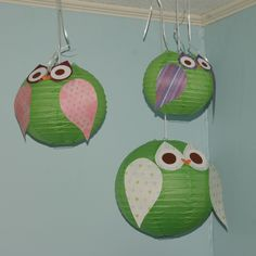 Owl birthday party with scrapbook-paper Chinese lantern owls!