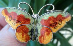 Large Silver Enamel Butterfly Brooch Hroar Prydz Norway
