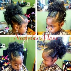 Little Black Girls Hairstyles : Love this! Lil Girl Hairstyles, Natural Hairstyles For Kids, My Hairstyle, Wedding Hairstyles, Ponytail Hairstyles, Children Hairstyles, Kids Natural Hair, Braid Ponytail, Toddler Hairstyles