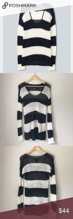 Talks Navy Striped Sweater Size Medium Classic nautical inspired navy striped sweater by Talula. Size Medium. EUC. Talula Sweaters Crew & Scoop Necks