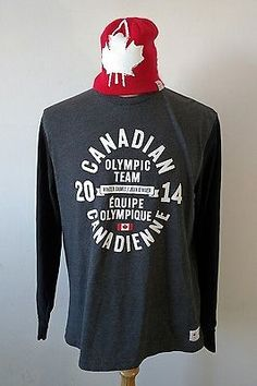 7108c00a9 Mens Hudson's Bay Company CANADA Olympic Long Sleeve T Shirt + Toque Hat L  Grey