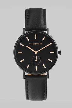 The Horse Classic Leather Watch - Black Case, Black Dial, Rose Gold Indexing Leather Black Band A simple take on the classic time-teller. Featuring a black c...