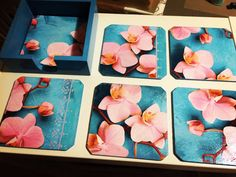 Decoupaged floral wooden coasters shabby by DumontsHandicrafts
