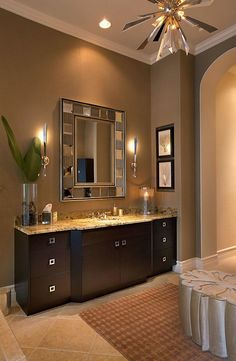 Need a vanity and counter top like this in our master bath since they show it with white woodwork like we have. Love it!
