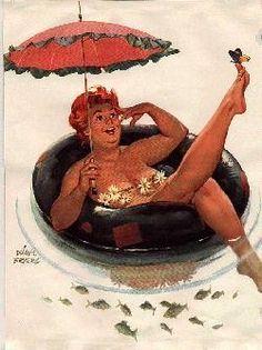 floatin' - vintage pin-up, illustration, umbrella Dita Von Teese, Curvy Pin Up, Umbrellas Parasols, Under My Umbrella, Illustration, Pin Up Art, Vintage Pins, Pin Up Girls, Summer Fun