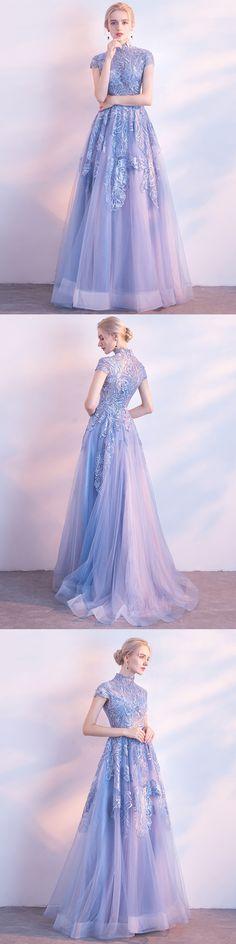 #2018 Prom Dress #Long Prom Dress #Appliques prom dress #High Neck prom dress #Cheap prom dress #beautiful prom dress