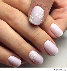 Matte white nails with details - LadyStyle