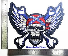 Big Large Jumbo Skull Wings USA Rebel Choppers Lady Rider Biker Motorcycle Patch Logo Sew Iron on Embroidered Appliques Badge Sign Costume Send Free Registration