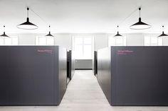 HelleFlou office design for Dansk Mode & Textil Names printed on Cubicles