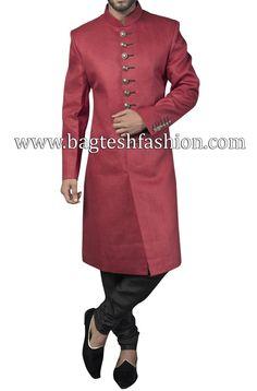 Classic Red Linen Wedding Sherwani