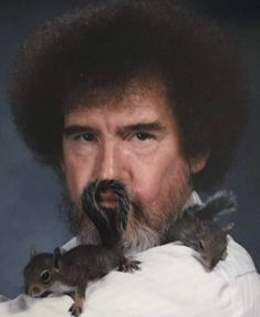 Another Bob Ross photo from my Grandfather with Pee Wee and Pea Pod. Part Gotta love his humor! Circa He spent hours photographing Bob and the squirrels Bob Ross Quotes, Blonde Bob Haircut, Happy Little Trees, Awkward Family Photos, Baby Squirrel, Bob Ross Squirrel, Inverted Bob, Wholesome Memes, Stevie Nicks