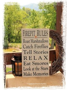 Firepit Rules Sign Typography -Wood Sign- Outdoor Decor Firepit Decoration Family Bonfire Sign Housewarming Gift Summer Decor