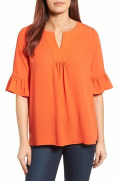 Pleione Pleione Ruffle Sleeve Blouse (Regular & Petite) available at Dressy Tops, Blouse Styles, Blouse Designs, Blouse Models, Mode Style, Ruffle Sleeve, Blouses For Women, Plus Size Fashion, Chiffon