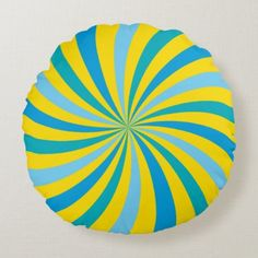 Sunshine Yellow and Blue Lollipop Swirl Round Pillow