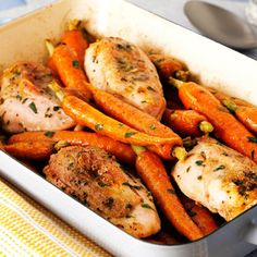 Tarragon baked chicken and carrots  In only two steps, this easy meal for the whole family can be prepared. Who said carrots had to be dull?