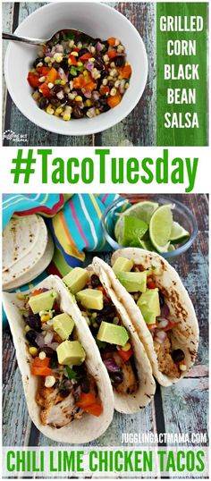 This Chili Lime Chicken Tacos recipe with Grilled Corn Black Bean Salsa are perfect for #TacoTuesday!
