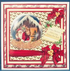 Santa on the Roof Top in a Snow Globe Card Front Insert on Craftsuprint designed by Valerie Swinglehurst - made by Cheryl French - Printed onto glossy photo paper. Attached base image to 6x6 card stock using ds tape. Built up image with 1mm foam pads. - Now available for download!