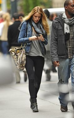 Blake Lively wearing CO-OP Barneys New York Studded Buckle Ankle Boots Gucci Hysteria Handbag VINCE Stretch-corduroy riding pants Current/Elliott The Snap denim jacket Burberry Mega Check Challis Scarf