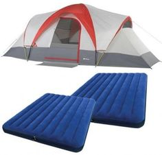 Dome Tent Camping Sets Ozark Trail Weather 9 Person With Two Bonus Queen Airbeds #DomeTentCamping