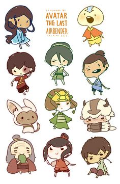 8.5x5.5 sheet of self cut stickers featuring characters from Nickelodeon's Avatar the Last Airbender