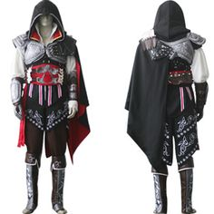 Assassin's Creed - Assassin's Creed II Ezio Black Edition    Deluxe cosplay costume as shown. Leather like details through out; Black hooded cloak, silver and black trim, belt, arm cuffs, boots, white shirt, brown pant. Beautifully hand crafted and very detailed. You will not be disappointed with this cosplay. Package