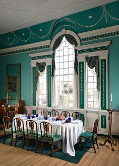The large dining room at Mt. Vernon pools together many of the most fashionable elements from 18th Century decor, including the bright blue/green paint, which was exceedingly expensive at the time, the Palladian window,and beautiful plasterwork.  This dining room was meant to be a showcase for entertaining that impressed, fit for a president, and it definitely served that purpose well.  Mt. Vernon, VA