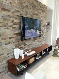 Stone Tv Wall Unit Best House Design - Home decor Sweet Home, Tv Wall Design, Living Room Tv, Tv Wall Ideas Living Room, Stone Wall Living Room, Cool House Designs, Living Room Designs, House Ideas, Interior Design